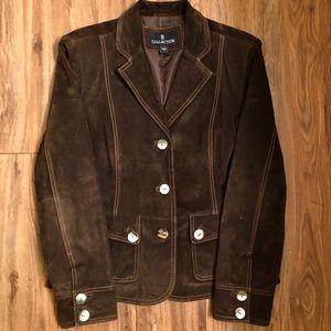 Women's Brown 100% Leather Sueded Blazer